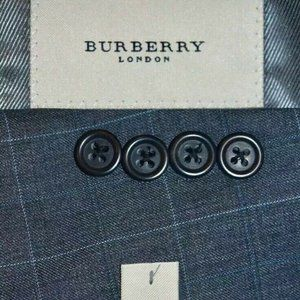 $1195 40R Burberry London Gray Blue Plaid BLAZER